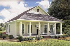 Plan Cottage with Front and Back Porches Cottage House Plans, Small House Plans, Cottage Homes, House Floor Plans, Cottage Style, Metal Building Homes, Building A House, 2 Bedroom House Plans, Southern Cottage