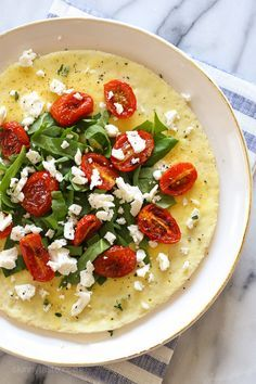 Open-Faced Omelet with Feta, Roasted Tomatoes and Spinach