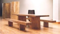 """Tretaux"" dining table & benches   blond mahogany wood,  dimensions 290 x 100 x 74h cm.  can be created in other sizes."