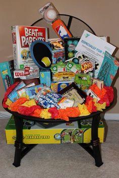 """Family Staycation"" raffle basket for Matthews Elementary School's Stingerfest Fall Festival on October 11, 2014"