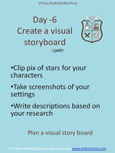 Day -6 NaNoWriMo Prep – Visual immersion is a fantastic tool for stimulating creative writing. Find pictures of your characters in magazines or on the web. Look for the places of your story. Create a collage or visual storyboard . Create the high points of your story with your pictures. Take notes on scene ideas and props. Keep your collage close during NaNoWriMo. For more on creating a visual storyboard see…