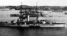 Austro-Hungarian Tegetthoff class dreadnoughts in Pula harbor.
