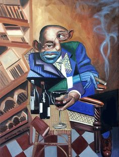 Cubism Art - Class Act by Anthony Falbo Cubist Art, Cubism, Cigar Art, Detailed Paintings, Realism Art, Art Pages, Geometric Shapes, Art For Sale, Creative Art