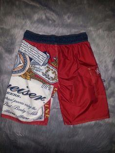 4fba6a8fb83c2 Vintage Budweiser Beer Men's Size 30 Board Shorts Swim Trunks Swimsuit  Anheuser | eBay Swim Shorts