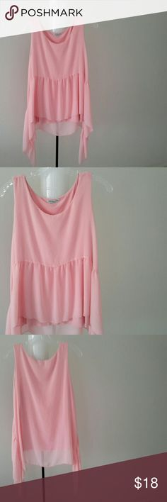 top Peachy pink sleeveless blouse with hanker chief hem. cha cha vente. Worn once. Tops Blouses