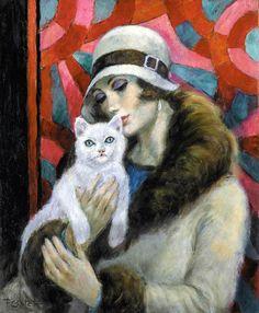 François Batet (b. Barcelona - Art Déco painter and illustrator) Art Vintage, Vintage Images, Art Nouveau Pintura, Illustrations, Illustration Art, Pinturas Art Deco, She And Her Cat, Art Quotidien, Moda Art Deco