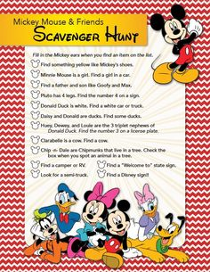 Here's a fun Mickey Mouse Lunch Idea Plus Free Printable for your next Disney vacation. Is your family planning a trip to Disney? Make this cute Mickey Mouse snack/lunch to take along for your kids to enjoy and print out the fun scavenger hunt. Pack your Mickey Mouse Party Games, Mickey Mouse Snacks, Mickey Movie, Mickey Mouse Clubhouse Birthday Party, Mickey Mouse And Friends, Mickey Mouse Birthday, Minnie Mouse, Mickey Cakes, Disney Games For Kids