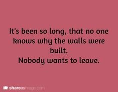 Prompt -- It's been so long, that no one knows why the walls were built. Nobody wants to leave.