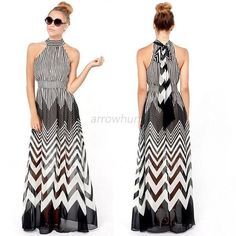 Women Summer Striped Boho Chiffon Dresses Evening Party Long Maxi Beach Dress #ZEHUI #BallGown #Clubwear
