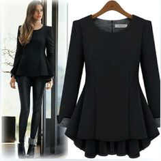 Cheap blouse cotton, Buy Quality blouse pink directly from China blouse satin Suppliers: 2014 Autumn Women Shirts Blouses European Style Long Sleeve Flounce Bottoming Casual Shirts Slim Blusas Femininas Look Fashion, Womens Fashion, Curvy Fashion, Street Fashion, Normcore, Looks Plus Size, Looks Black, Winter Stil, Plus Size Kleidung