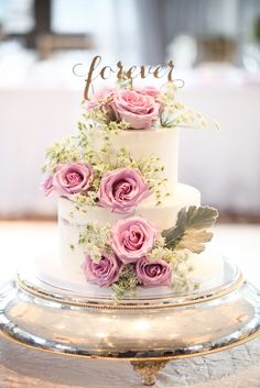 """Script """"forever"""" cake topper on white wedding cake with pink roses   You Me Photography & Video   Florals: Anthony Gowder Designs"""