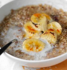 Bruleed banana oatmeal! Low fat, dairy free, high soluble fiber, great for IBS! Use instant oatmeal for the most tolerable whole grain option.   2011_04_08-Bruleed1.jpg