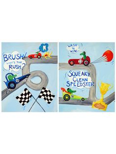 Dont Rush the Brush/Wash to Win Set Paper Print by Cici Art Factory at Gilt