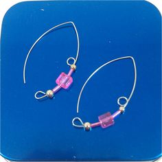 Pink Cube Earrings 1 3/4 inch Sterling Silver Plated Beads Silver Plated Ear Wire Simple Threader Open Hoop Beadwork Dangle 617