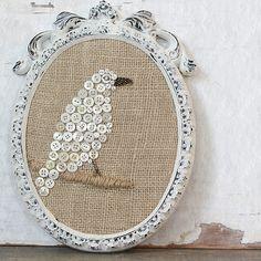Vintage button bird   Cloth  Patina