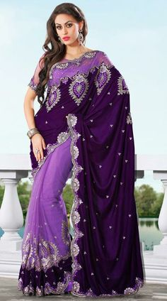 USD 145.26 Purple Embroidery Net Wedding Saree 28889
