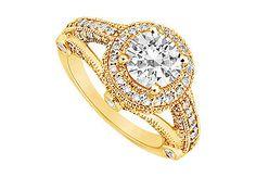Want! - Diamond Engagement Ring : 14K Yellow Gold - 1.50 CT Diamonds