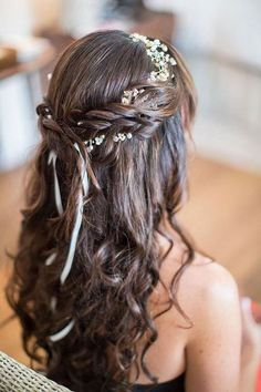 69 Trendy Flowers In Hair For Prom Curls Wedding Hairstyles Cute Little Girl Hairstyles, Flower Girl Hairstyles, Wedding Hairstyles For Long Hair, Bride Hairstyles, Headband Hairstyles, Pretty Hairstyles, Headband Updo, Hairstyle Ideas, Indian Hairstyles