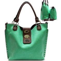 Metal Studs / Lock Closure Purse and Bag / Handbag / Bag in Bag/ Green / Rchja2513mnt,$41.99