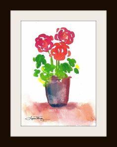add a pop of color to your favorite spot | red geranium print