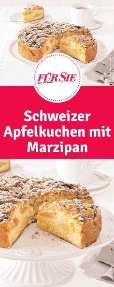 Rezept für Schweizer Apfelkuchen mit Marzipan Brownies, French Toast, German, Cupcakes, Breakfast, Recipes, Food, Apple Recipes, Pies