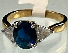 Gold Plated ring Blue Sapphire birthstone April Cocktail RD487-9 USA Seller #Unbranded #Cocktail