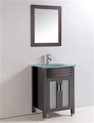 """24"""" Espresso Bath Vanity with Mirror and Faucet"""