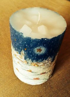 decoupage christmas candle Christmas Candle, Decoupage, Candle Holders, Candles, Lights, Ideas, Porta Velas, Candy, Lighting