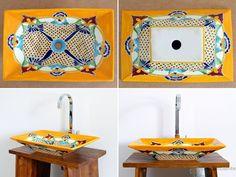 Puebla - Rechteckiges Design Waschbecken MEX 6 aus Mexiko, handverziert.
