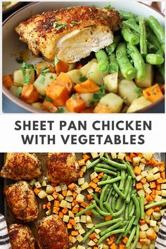 Sheet pan chicken with vegetables uses fresh ingredients pantry staples for a delicious meal. Make this recipe tonight in just under an hour! #sheetpanmeal #sheepanrecipe #onepanrecipe #chickenrecipe #chickenandvegetablesrecipe Best Paleo Recipes, Lunch Recipes, Dinner Recipes, Chicken Thigh Recipes, Baked Chicken Recipes, Healthy Cooking, Healthy Meals, Different Vegetables, Chicken And Vegetables