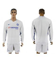 Billiga Chelsea Bortatröja 17-18 Långärmad Stamford, Chelsea Fc, Yokohama, Polo Shirt, T Shirt, Manchester United, Premier League, Chef Jackets, Barcelona