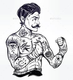 Hand drawn tattooed sailor boxer fighter, player in vintage style. Traditional flash tattoo style retro poster. Ideal for boxing c