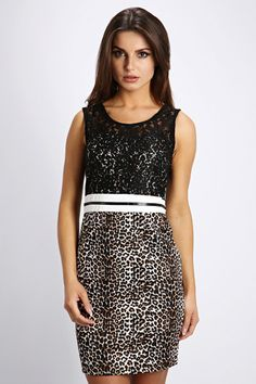 Contrast Lace & Animal Print Dress Dress P, New Dress, Animal Print Dresses, Sequin Skirt, Contrast, Sequins, Lace, Skirts, Clothing