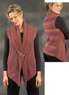 Woman's Two Piece Vest Pattern - Diy Crafts Crochet Vest Pattern, Crochet Jacket, Crochet Poncho, Knit Patterns, Crochet Vests, Diy Crafts Knitting, Knitting Kits, Knitting Designs, Crochet Baby Shoes