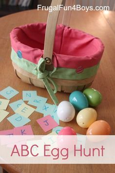 Great learning game for kids! Try this egg hunt as a Spanish activity - you can practice Spanish letters, Spanish letter sounds, Spanish sight words, or numbers in Spanish. Lots of fun for kids learning Spanish! http://frugalfun4boys.com/2013/03/24/alphabet-egg-hunt/