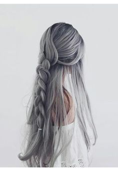 25 silver hair color Looks absolutely gorgeous - Frisuren - Cheveux Pretty Hairstyles, Braided Hairstyles, Braided Locs, Dance Hairstyles, Scene Hairstyles, Ladies Hairstyles, Hairstyles Pictures, Unique Hairstyles, Hairstyle Ideas