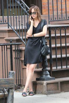 2027658dbf15 Dakota Johnson wearing Maryam Nassir Zadeh Sophie Leather Slides