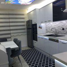 Beyaz mutfak, Gri, Halı, Modern mutfak, Mutfak, Mutfak masası, Siyah-beyaz, Tezgah arası seramik