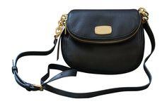 Michael Kors Leather Bedford Flap Crossbody Handbag, Black