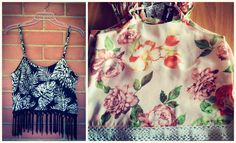 Absolutely gorgeous new tops just arrived from Miss Pretty! Leaf print tassel cami - R300 Rose print cami with crochet trim - R285