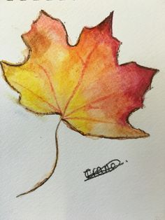 Watercolour pencil leaf