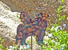 Collie / Sheltie / Border Collie / Copper Garden Art / Pet Memorial Marker / Metal Yard Art / Angel Dog / Outdoor Plant Spike Patina Finish