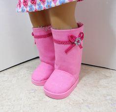 Pink canvas ugg style boots for American Girl