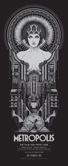 """Affiche originale Mondo """"METROPOLIS"""" par Ken Taylor, numérotée, encadrée. Regular Edition: Size: 15″ x 36″ Edition: 375 exemplaire au monde.@asgalerie #asgalerie #mondo #metropolis #KenTaylor."""