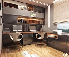 This kind of home office layout is honestly a noteworthy design construct. Home Office Furniture Design, Home Room Design, Office Interior Design, Office Interiors, House Design, Office Cabin Design, Interior Ideas, Home Office Layouts, Home Office Setup