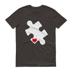 Love Autism Shirt - Autism Awareness Day 2017 Red Heart Puzzle
