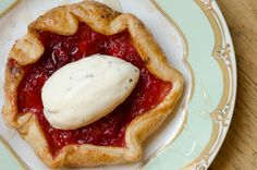 Strawberry-Rhubarb Galette, Licorice-Mint Crème Fraiche, and Champagne-White Balsamic Reduction