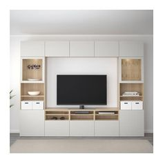 IKEA - BESTÅ TV storage combination/glass doors walnut effect light Living Room Tv Unit, Ikea Living Room, Storage Ideas Living Room, Living Rooms, Ikea Tv Wall Unit, Built In Tv Wall Unit, Ikea Wall, Tv Wanddekor, Tv Wall Decor