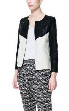 Biało-czarna kurtka - Zara #zara