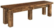 Amish Houston Bench - Quick Ship Houston offers a rustic look or grooves well with a contemporary one. Thick, rich solid wood posts. Custom made in Amish country. #diningbenches #benches